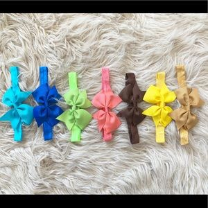 Baby Girls Ribbon/Elastic Headband Bows Multicolor